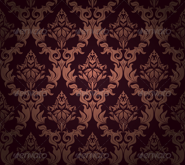 Damask Seamless Pattern - Flourishes / Swirls Decorative