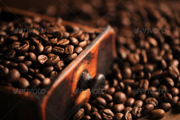 closeup of coffee beans, shallow dof - Stock Photo - Images
