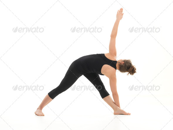 difficult yoga pose for begginers - Stock Photo - Images