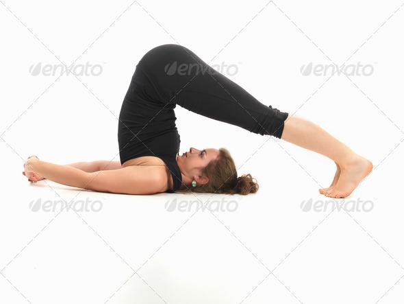 stretching yoga pose - Stock Photo - Images