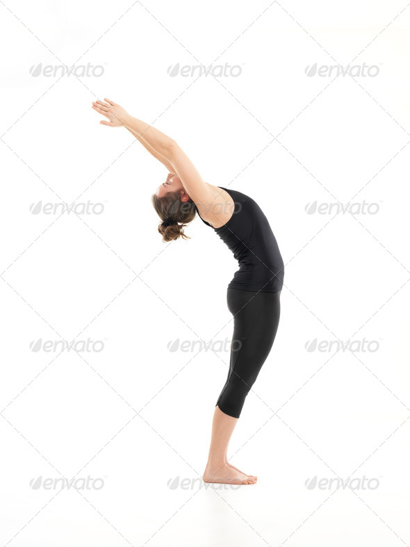 difficult yoga pose demonostration - Stock Photo - Images