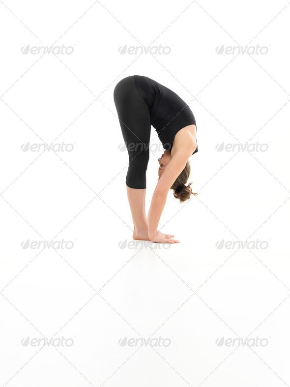 begginer stretching yoga pose - Stock Photo - Images