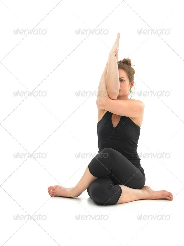 difficult yoga pose - Stock Photo - Images