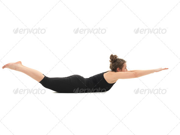 demonstration of advanced yoga posture - Stock Photo - Images