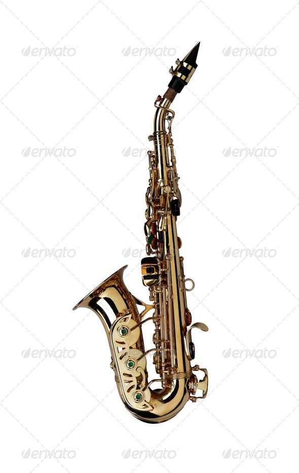 saxophone isolated under the white background ( Clipping path ) - Stock Photo - Images