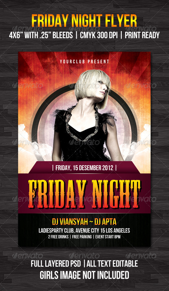 Friday Night Flyer Template - Flyers Print Templates