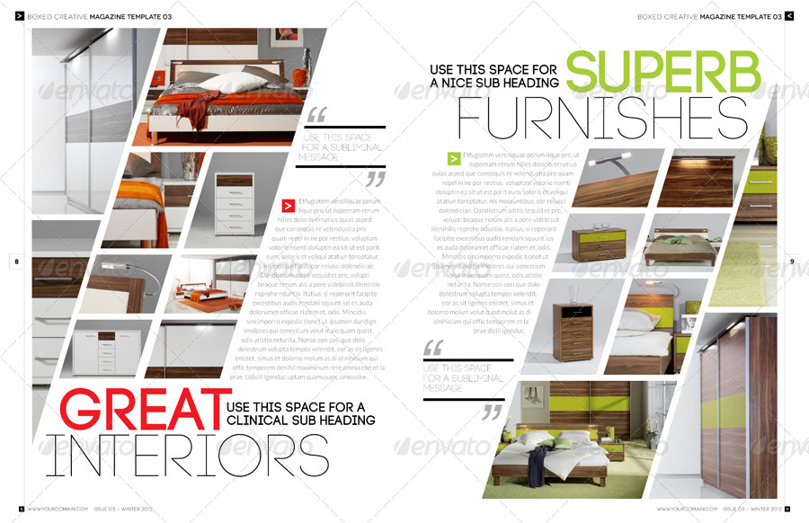 Magazine template indesign 56 page layout v3 by for Indesign interior