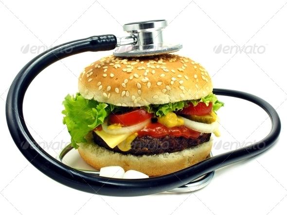 Hamburger and Stethoscope - Stock Photo - Images