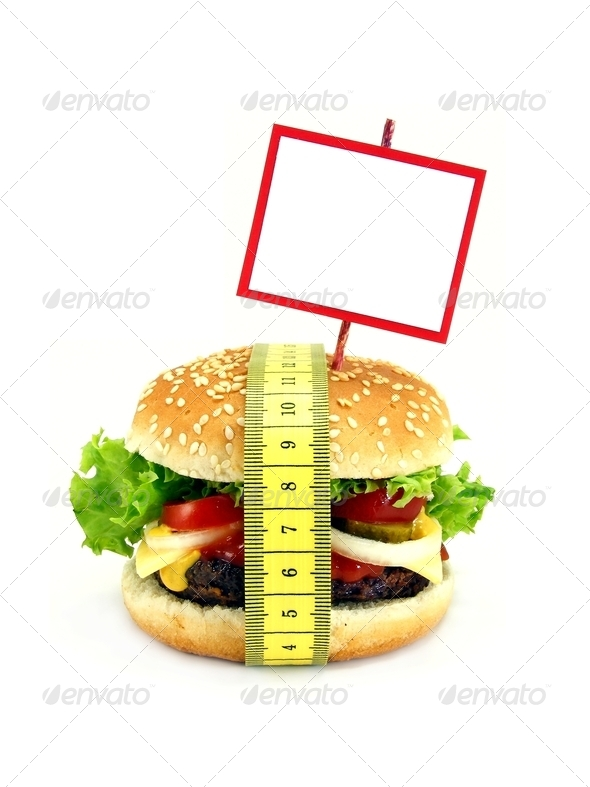 Cheeseburger with Measuring Tape - Stock Photo - Images