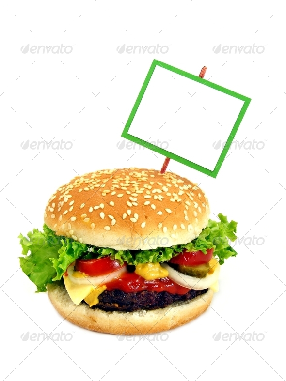 Cheeseburger and Signpost - Stock Photo - Images