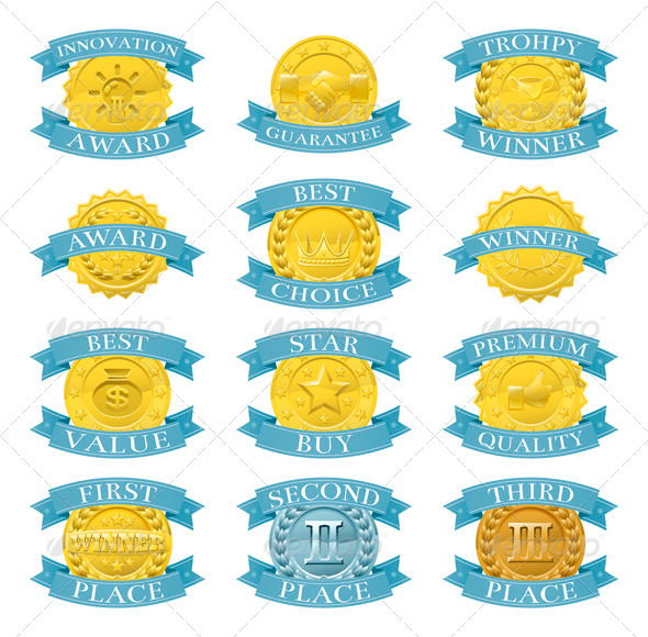 Award Medals or Badges - Web Elements Vectors
