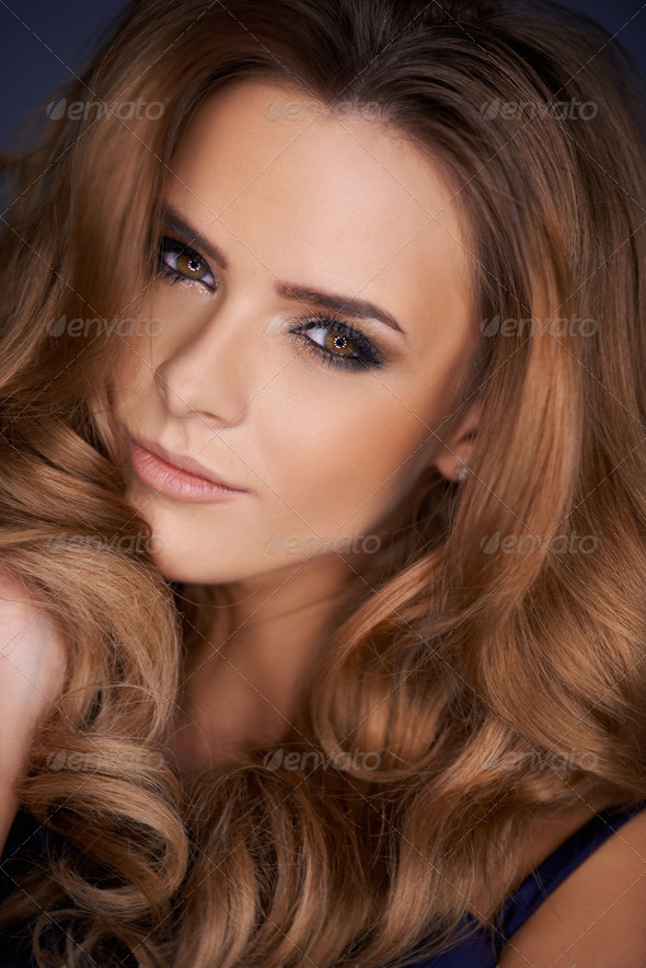 Close up portrait of beautiful woman - Stock Photo - Images