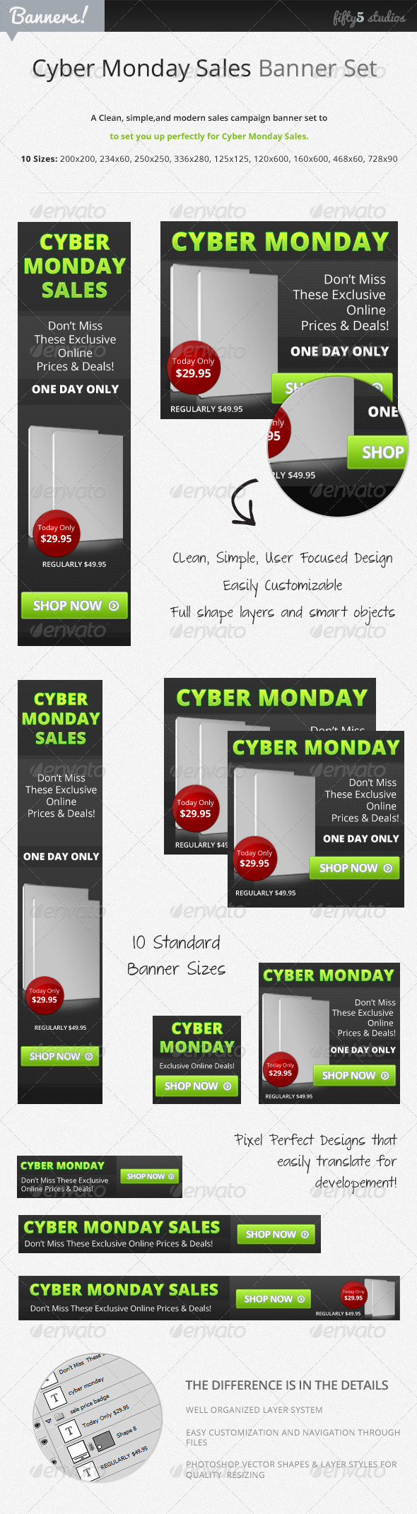 Cyber Monday Sales Banner Set - Banners & Ads Web Elements