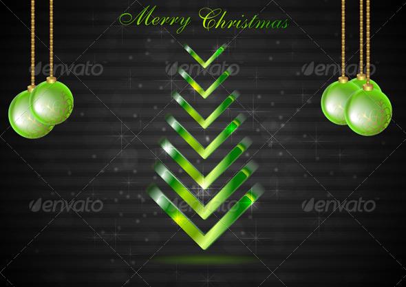 Abstract Christmas fir tree with green balls. Vect - Christmas Seasons/Holidays