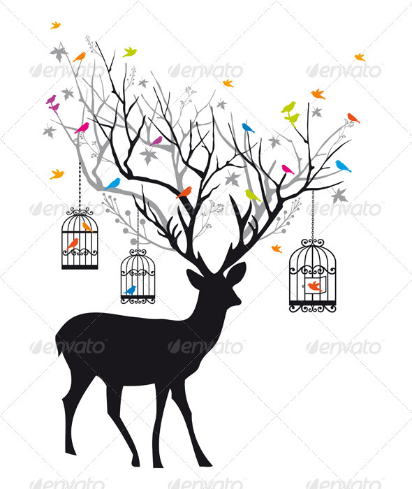 Deer With Birds And Birdcages, Vector - Animals Characters
