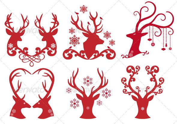 Christmas Deer Stag Heads, Vector  - Christmas Seasons/Holidays