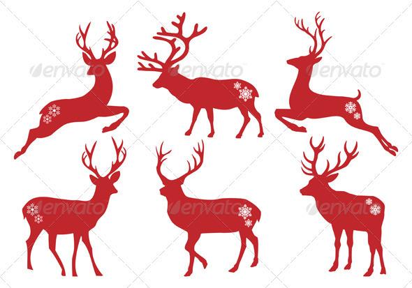 Christmas Deer Stags, Vector Set - Christmas Seasons/Holidays
