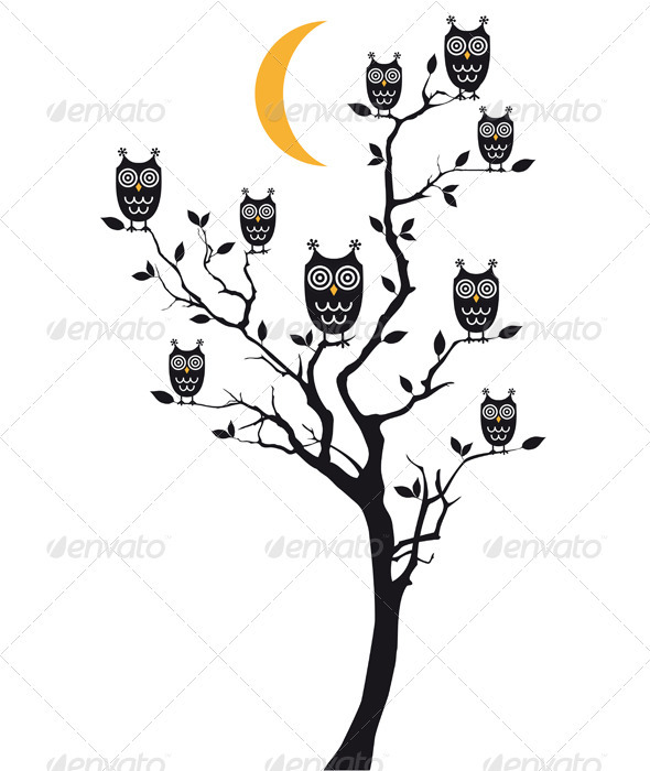 Owls Sitting On Tree, Vector  - Animals Characters