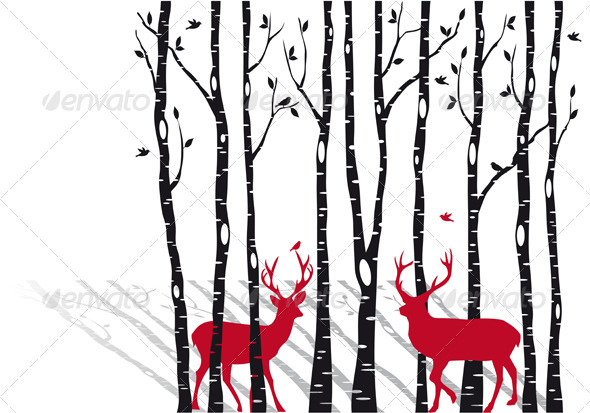 Birch Trees With Christmas Deers, Vector  - Flowers & Plants Nature