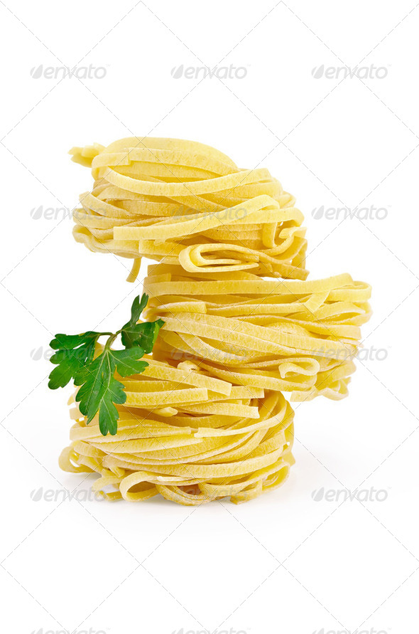 Noodles curled with parsley - Stock Photo - Images