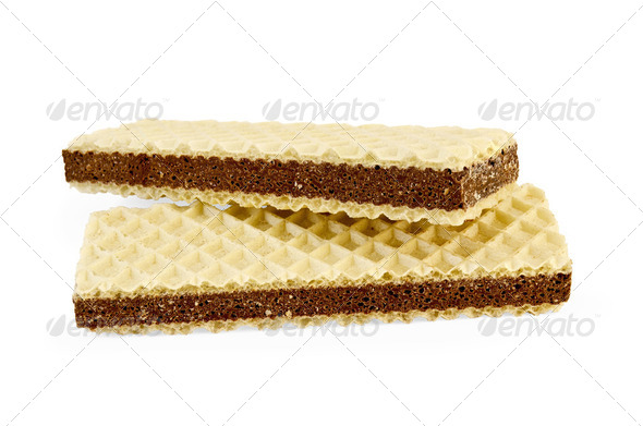 Wafers with a layer of porous chocolate - Stock Photo - Images