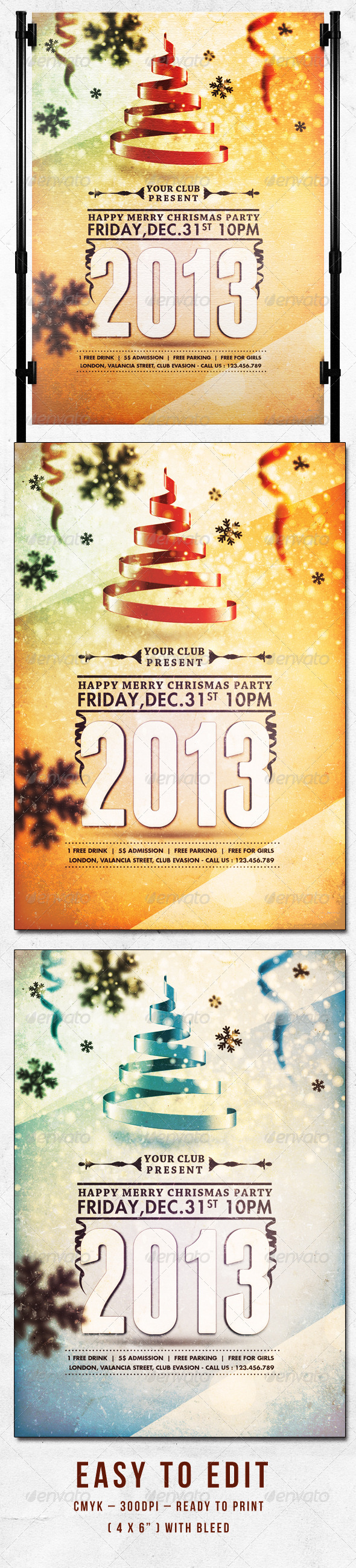 Happy Merry Christmas Party Flyer Template - Clubs & Parties Events