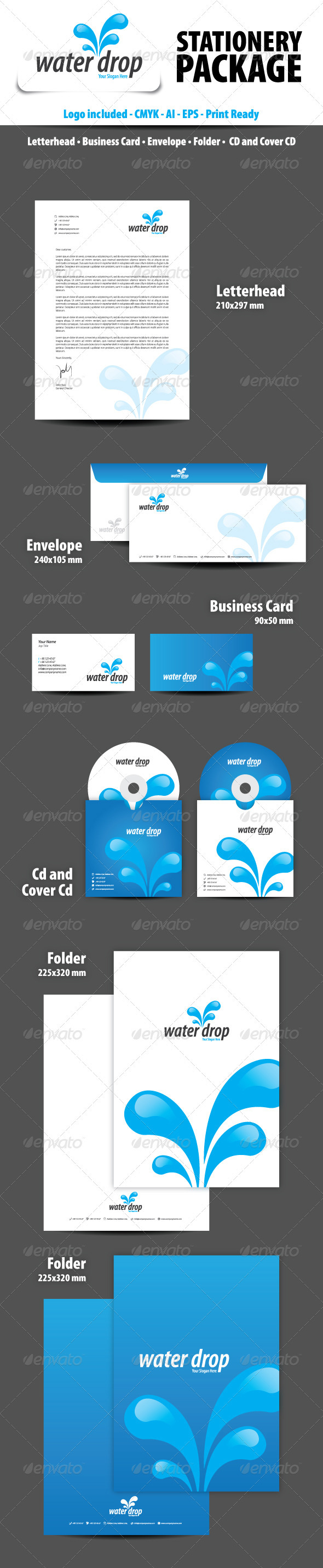 Water Drop Stationery Package - Stationery Print Templates