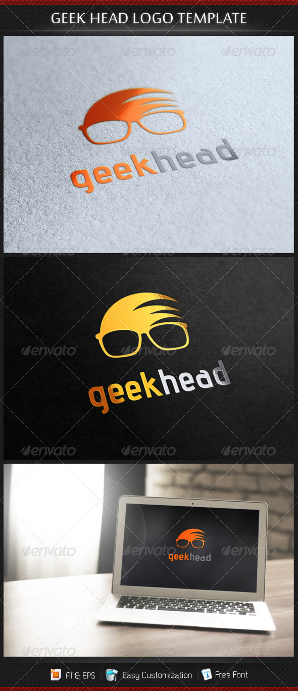 Geek Head Logo Template By Gbs Graphicriver