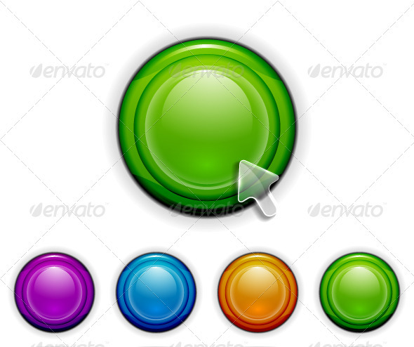Vector Glossy Buttons - Web Technology
