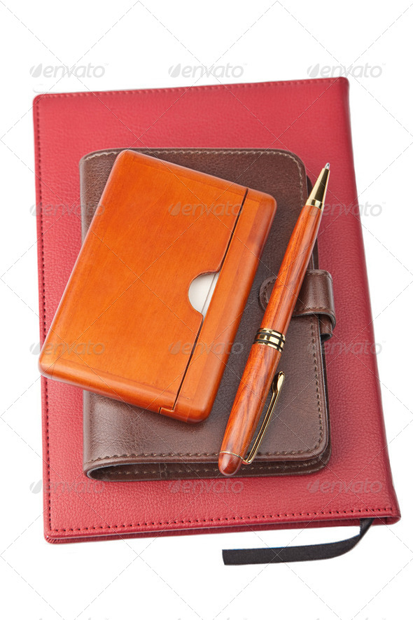 organizer pen and diary - Stock Photo - Images
