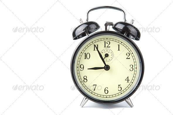 alarm clock isolated over white - Stock Photo - Images