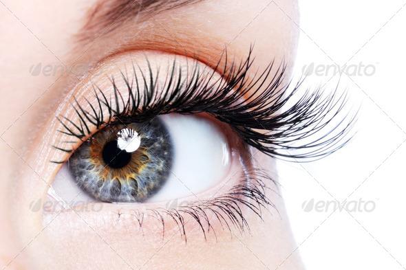 Beauty female eye with curl long false eyelashes - Stock Photo - Images