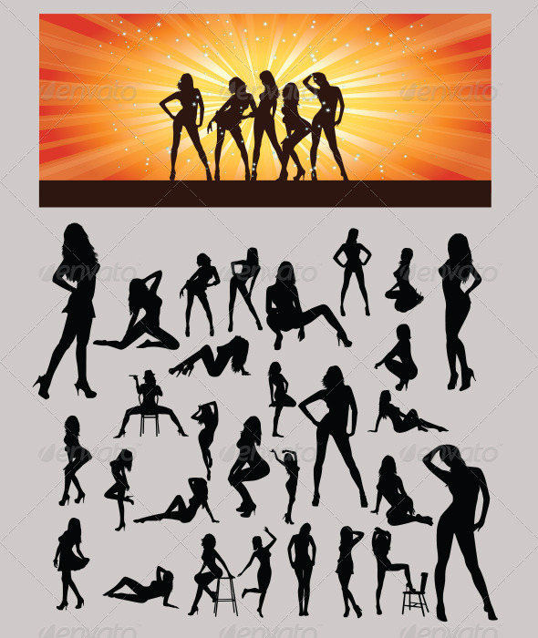 Sexy Girls Silhouette - People Characters