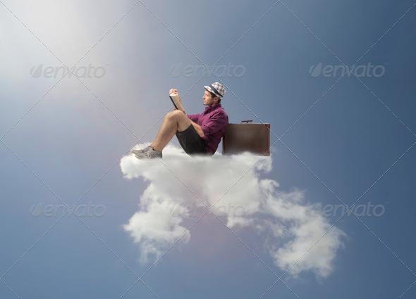 Flying Reading - Stock Photo - Images