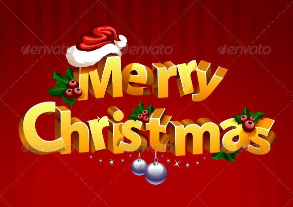 Three-dimensional gold christmas typography - Christmas Seasons/Holidays