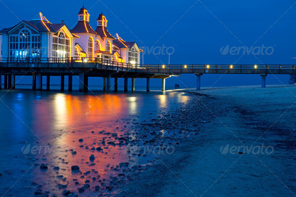The pier of Sellin - Stock Photo - Images