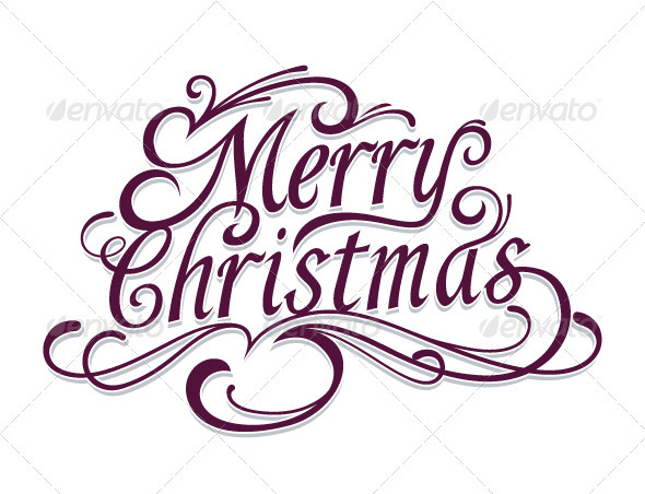 Merry Christmas Vector Calligraphic Lettering - Christmas Seasons/Holidays