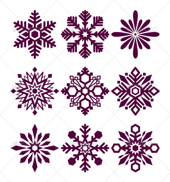 Set of vector snowflakes - Christmas Seasons/Holidays