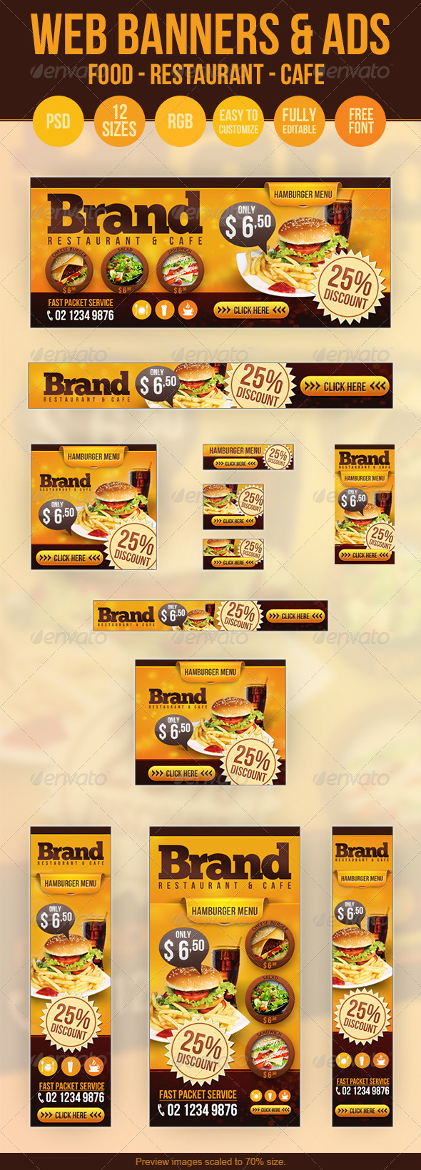 Food Web Banners & Advertise - PSD Templates - Banners & Ads Web Elements