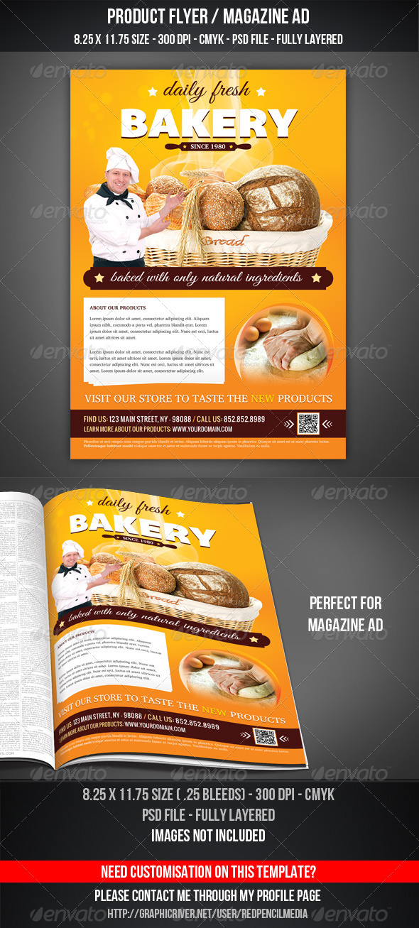Bakery Flyer / Magazine AD - Restaurant Flyers