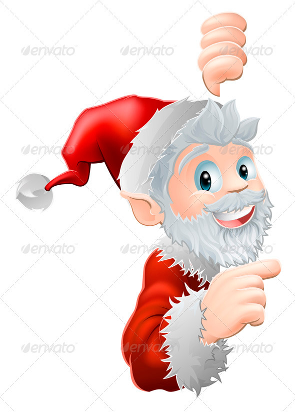Santa Peeking and Pointing - Christmas Seasons/Holidays