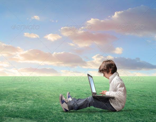 Technologic Child - Stock Photo - Images