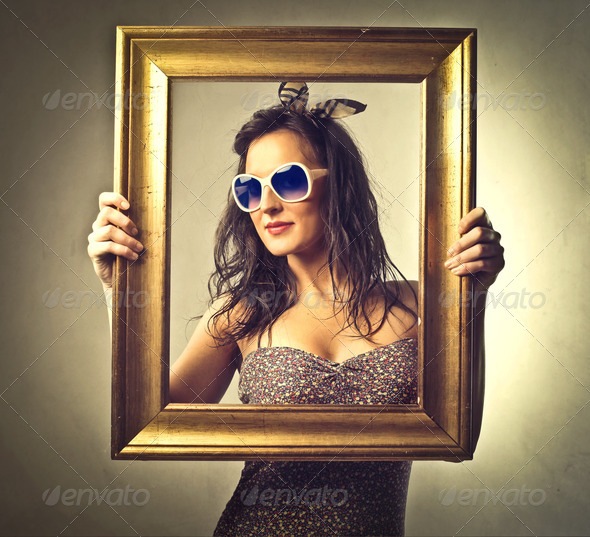 Posing in a Frame - Stock Photo - Images