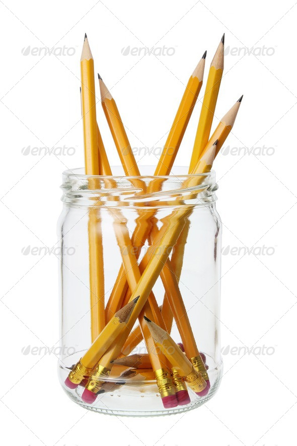 Pencils in Jar - Stock Photo - Images