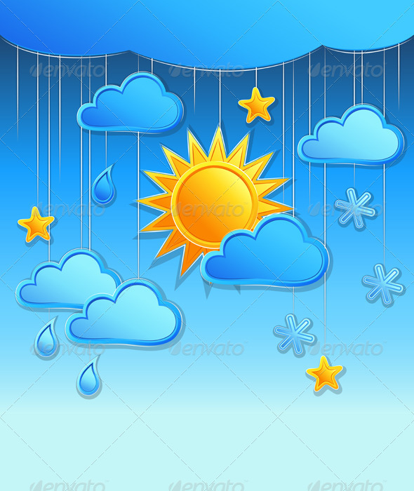 Vector Background with Day Weather Icon  - Seasons Nature