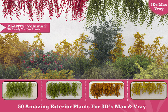 50 Exterior Plants For 3D's Max & Vray: Volume 2 - 3DOcean Item for Sale