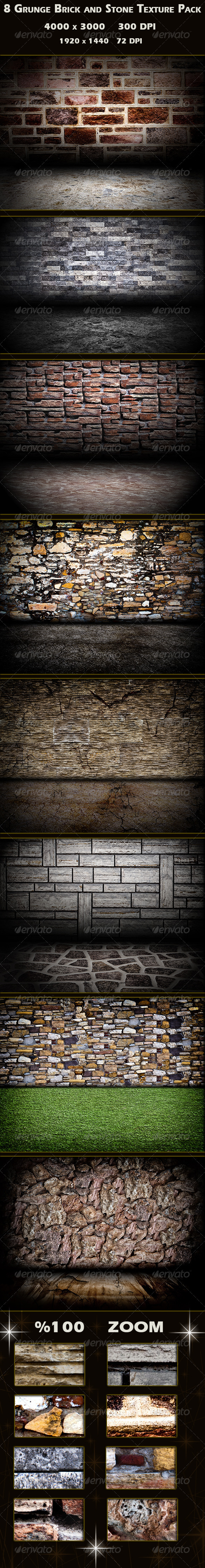 8 Grunge Brick and Stone Wall Texture Pack - Industrial / Grunge Textures