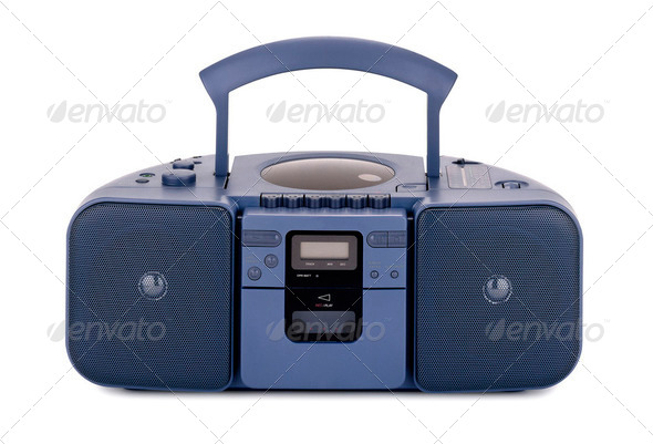 Blue stereo CD radio cassette recorder isolated on white - Stock Photo - Images
