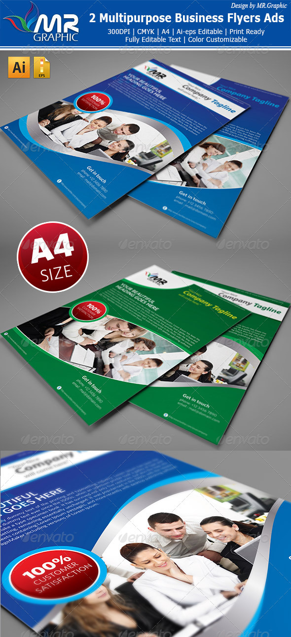 2 Multipurpose Business Flyers Ads - Flyers Print Templates