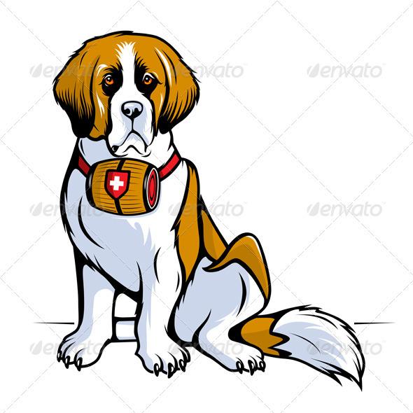 Saint Bernard Dog - Animals Characters